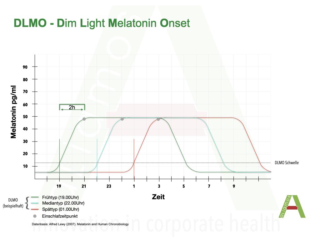 Früh-, Median- und Spättypdarstellung des DLMO
